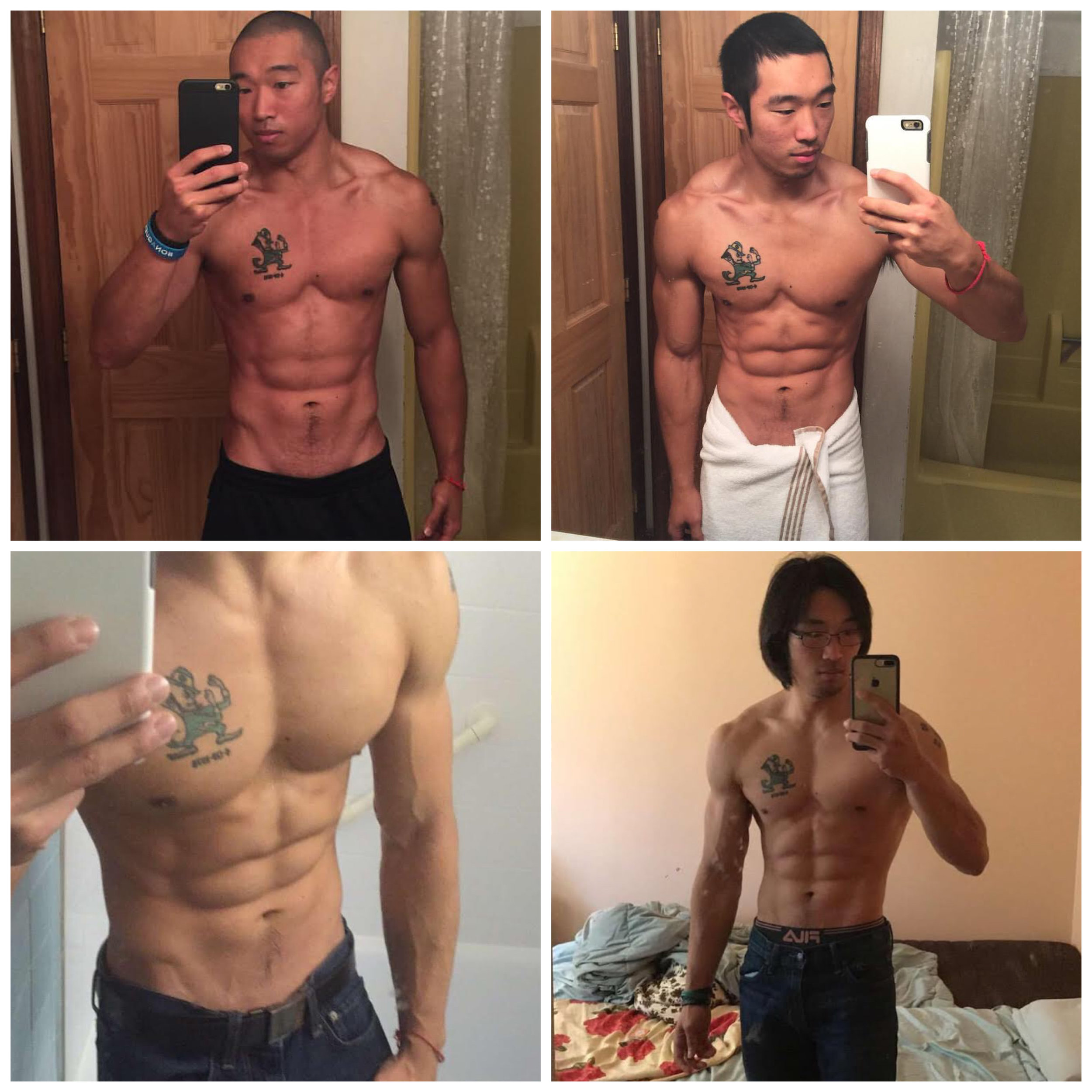 Top Left: Body Building Style workouts @177-182lbs Top Right: Incorporating more Metabolic Conditioning @173-77lbs Bottom Left: Switched over to Official Ninja Training @160-165lbs Bottom Right: Fully committed to Ninja Training @ 168-173 (The best I've ever felt TBH) *I don't mean to sensationalize my body in these pictures, they are the only ones I have to best showcase how even as I changed my training protocol, I was able to keep the aesthetic I wanted while improving overall performance.  *For each phase of training I was following and track macros specifically for each performance goal.