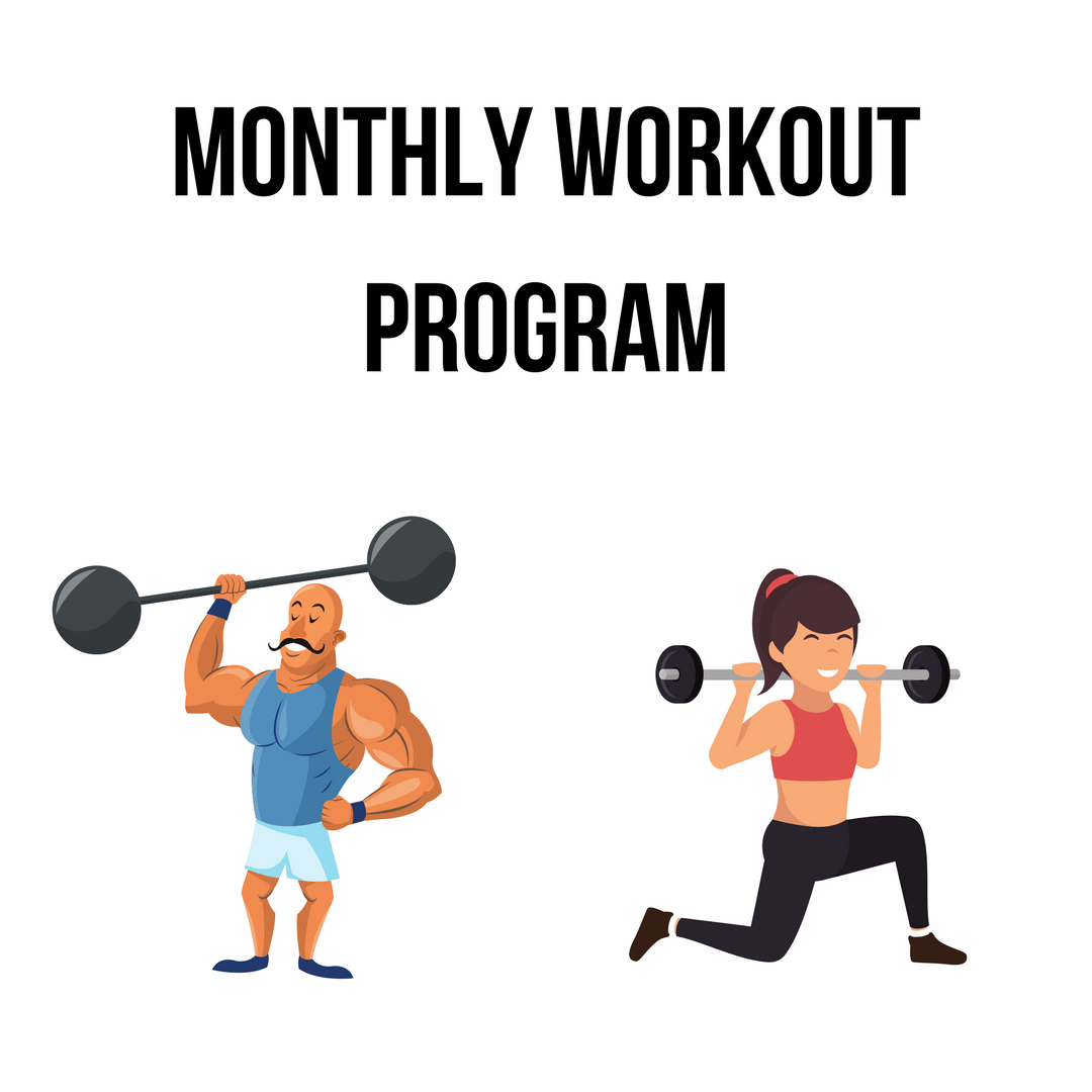 Every month you'll be given a brand new 4 week workout program. Use the exercises database as a reference for the exercises listed or the workout videos for specific specialty workouts.