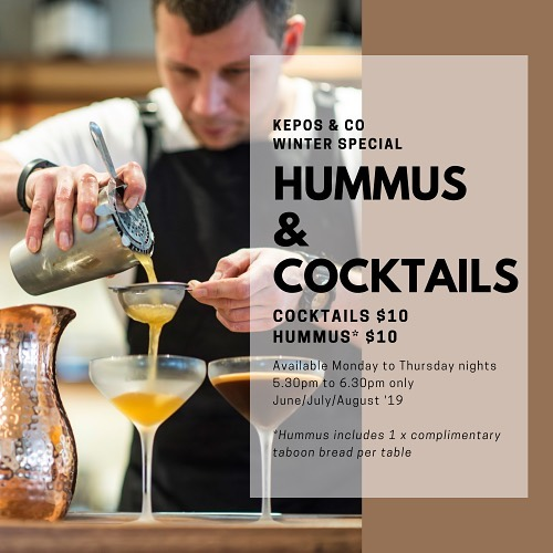 Happy hour at Kepos & Co starts now ⏱ Available Monday to Thursday evenings from 5.30pm to 6.30pm.  All cocktails $10.  Kepos & Co hummus $10. ⠀ ⠀ Available until the end of August '19.⠀ ⠀ #keposandco  #sydneylocal  #sydneyrestaurants #waterloosydney #danksstreet  #happyhoursydney