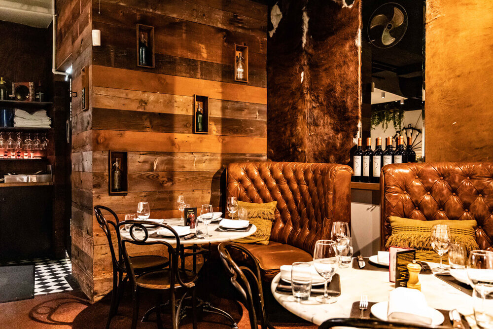 San telmo is a steak restaurant in melbourne and their new website showcases their meat-based menu and leather-inspired interiors