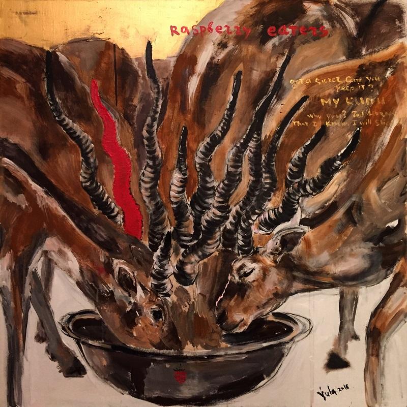 raspberry eaters / canvas, acrylic / 100x100cm / 2016