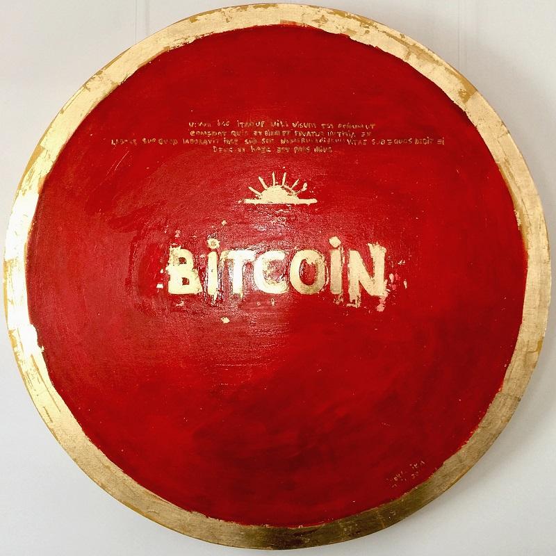 red bitcoin / canvas, acrylic / D120cm / 2018
