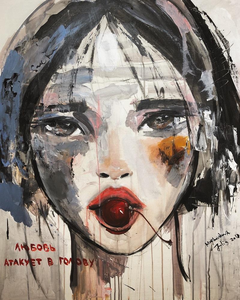 love attacks in head / canvas, acrylic / 90x80cm / 2018