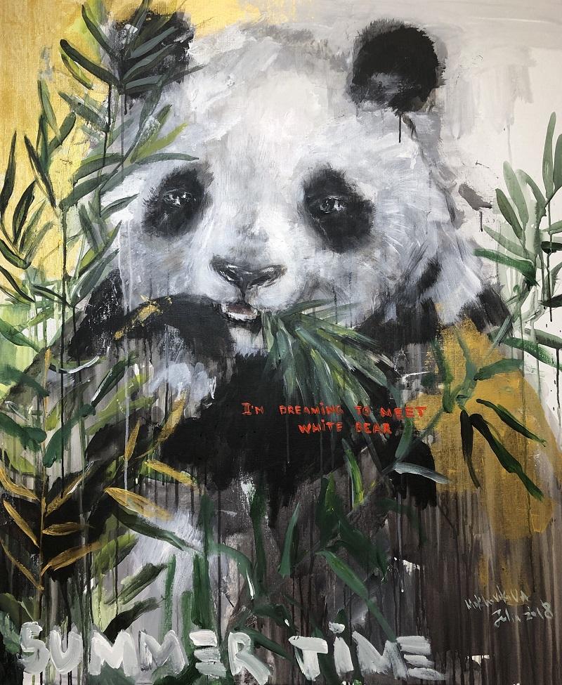 dream to meet white bear / canvas, acrylic / 120x100cm / 2018