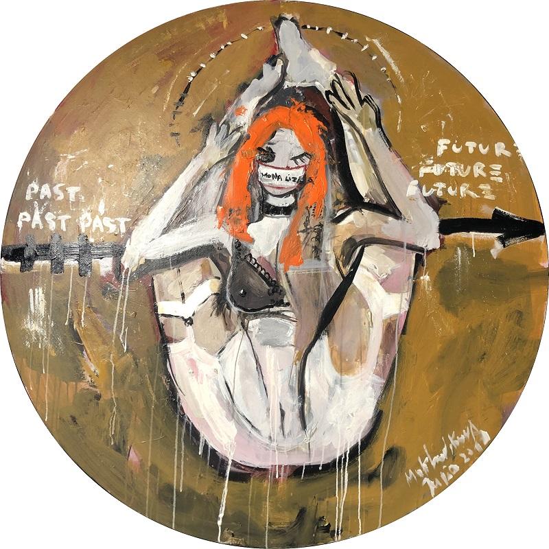 mona liza canvas, acrylic D120cm
