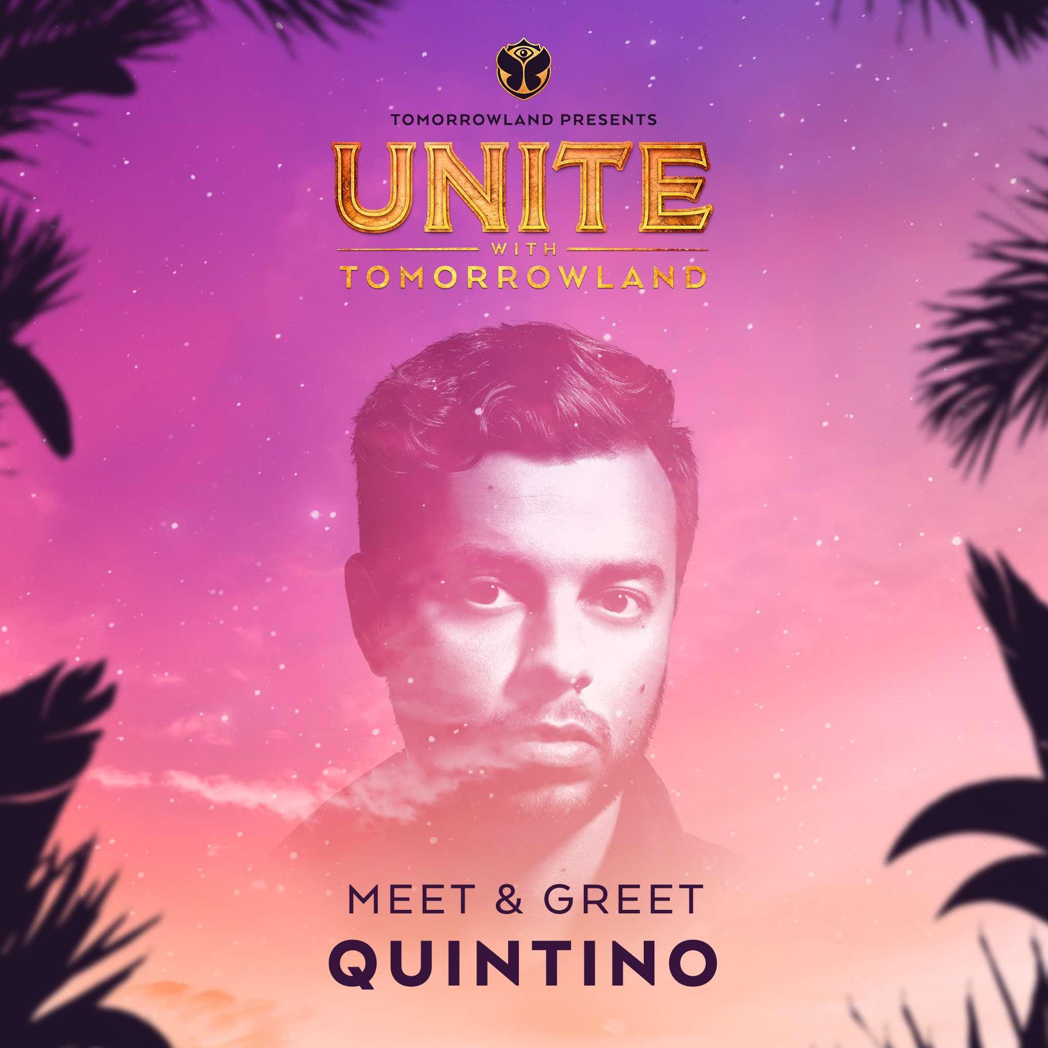 Meet & Greet con Quintino - Si querías conocer a Quintino, habrás participado a través de sus redes sociales.- Post Facebook.- Tweet en Twitter.Pues hemos reunido a todos los fanáticos del artista y un software se ha encargado de escoger un nombre aleatorio. Si este es tu nombre, es que te hemos enviado un correo con las instrucciones. ¡Nos vemos en UNITE!Ganadores:🏆@dani_garcia1998 (a través del Instagram)🏆@xxloree (a través del Instagram)