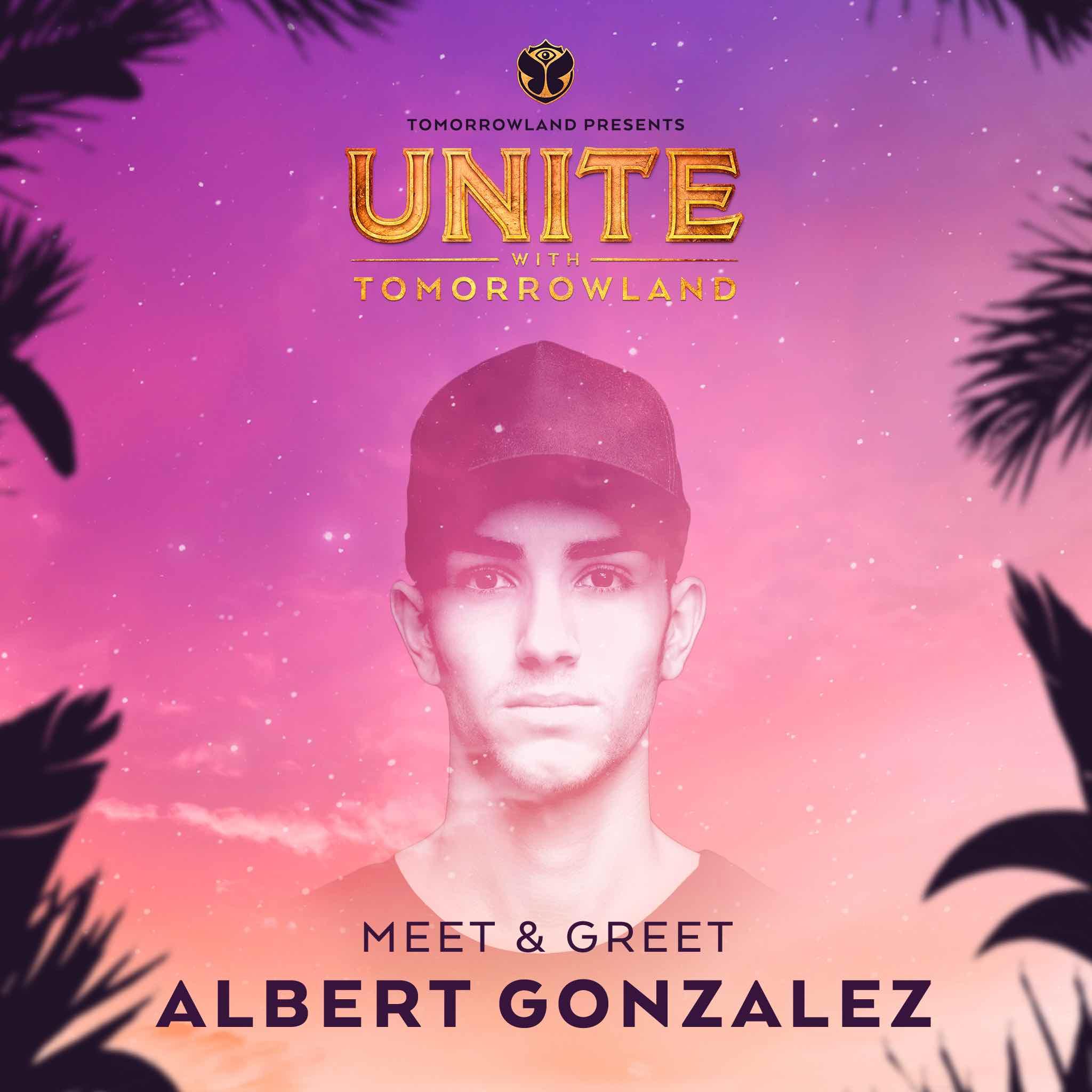 Meet & Greet con Albert Gonzalez - Si querías conocer a Albert Gonzalez, habrás participado a través de sus redes sociales.- Post en Instagram.Pues hemos reunido a todos los fanáticos del artista y un software se ha encargado de escoger un nombre aleatorio. Si este es tu nombre, es que te hemos enviado un correo con las instrucciones. ¡Nos vemos en UNITE!Ganadores:🏆 @nelixgo (a través del Instagram)🏆 @yae_rom (a través del Instagram)