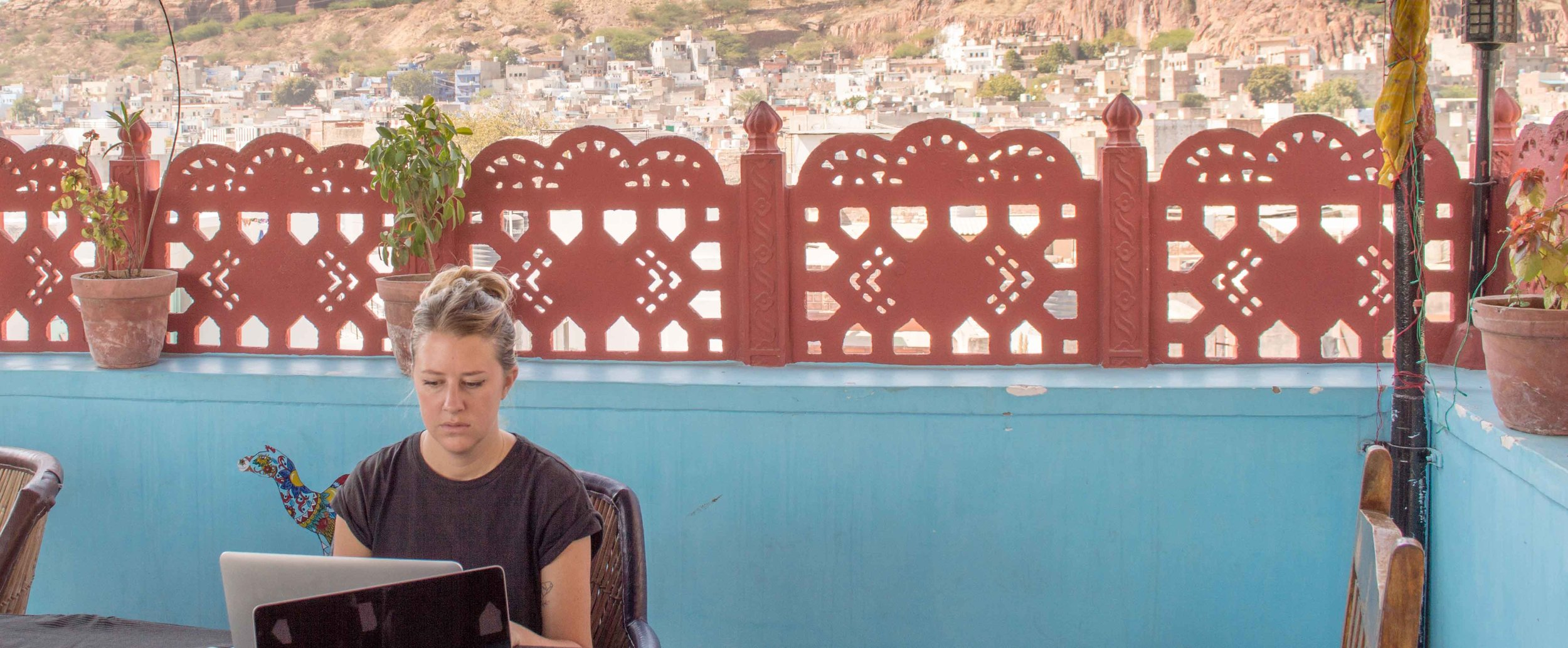 Although Alice doesn't look the happiest here, working at the foothill of Indian castles has its benefits!