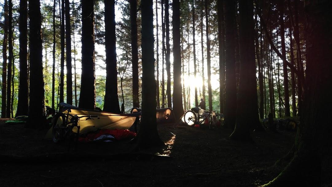 The sun sets on our overnight bivvy spot