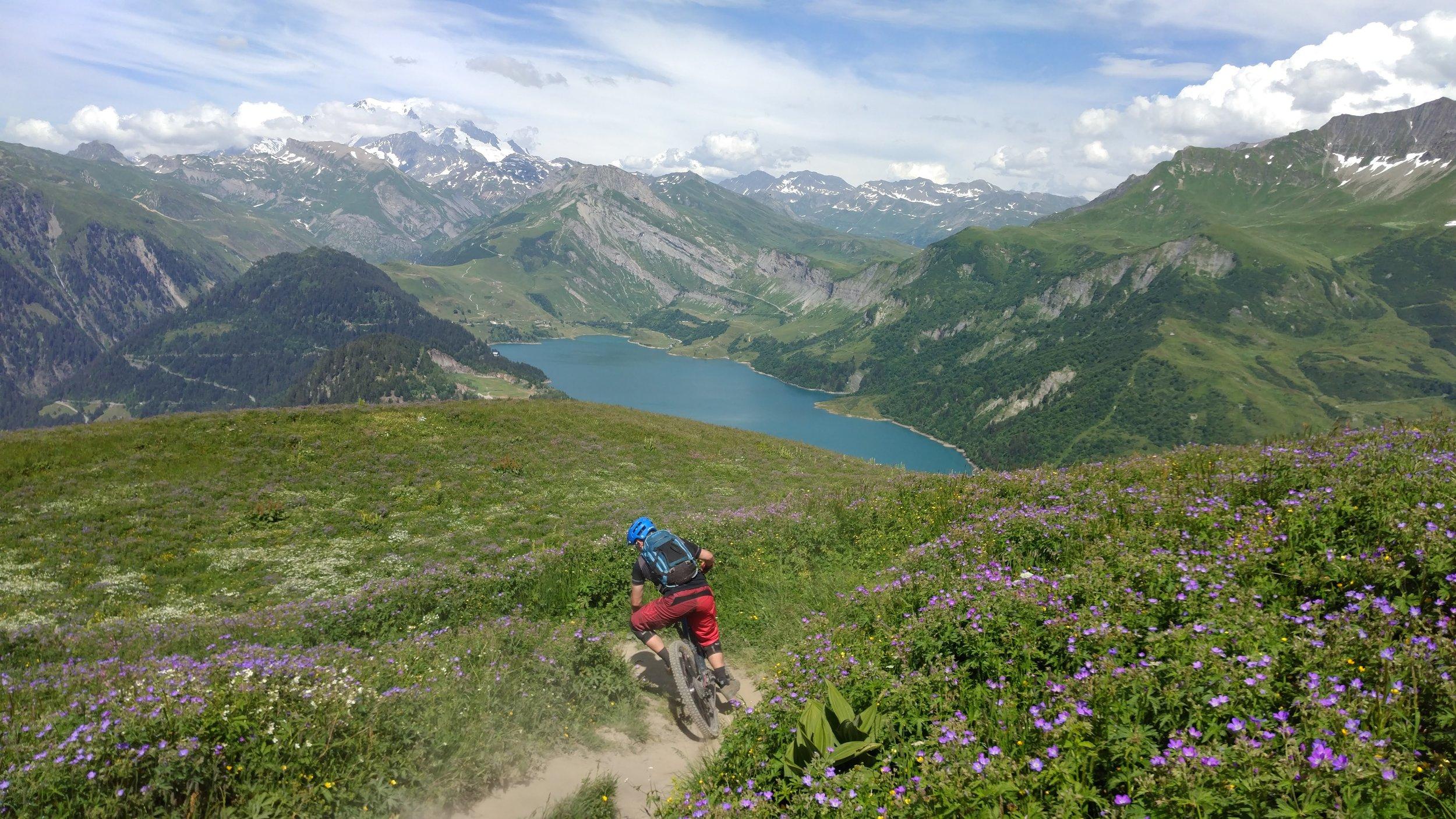 Scenic single-track on the Mont Blanc Enduro