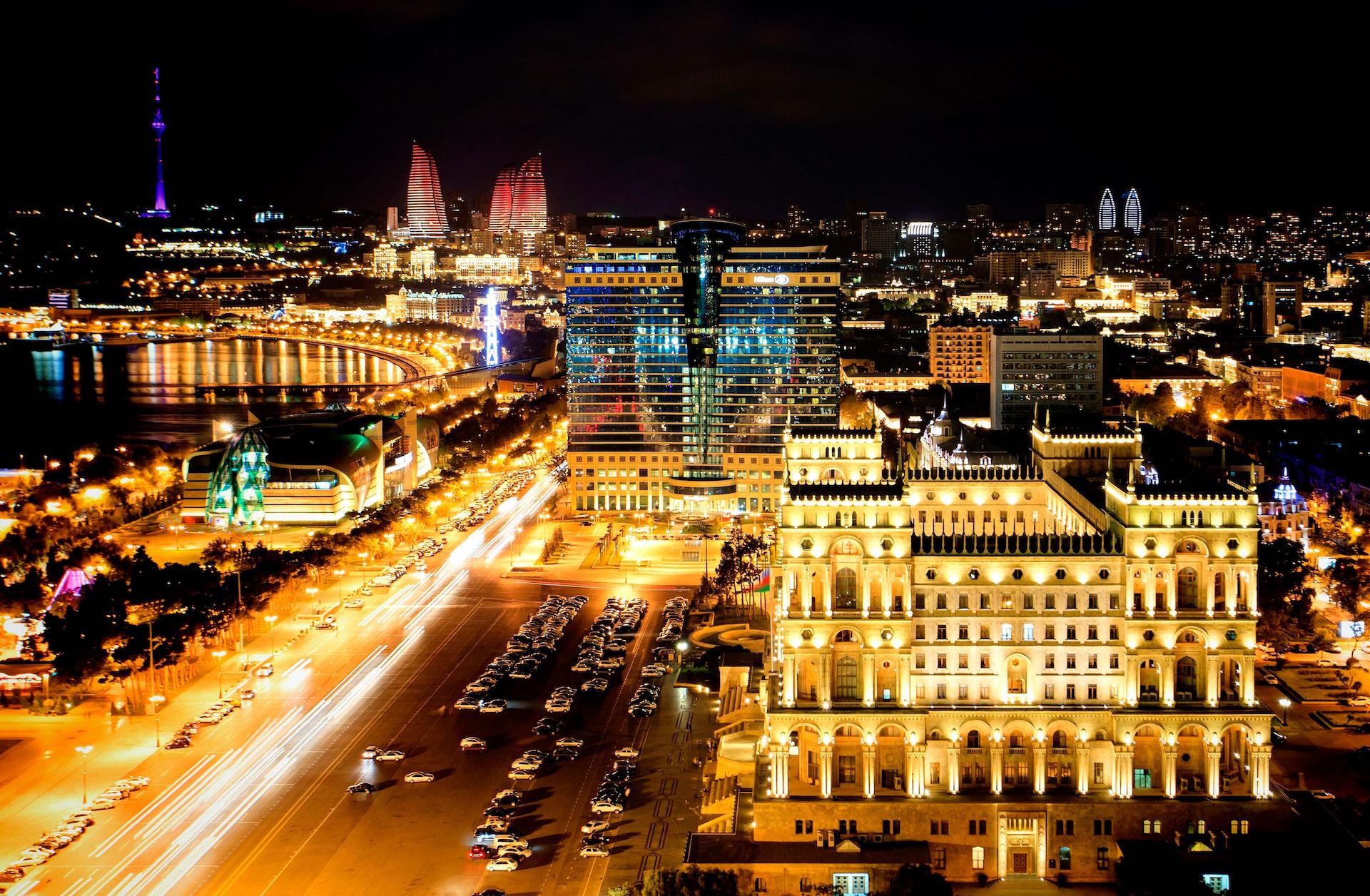 Baku Flame Towers in Azerbaijan Caucasus.jpg