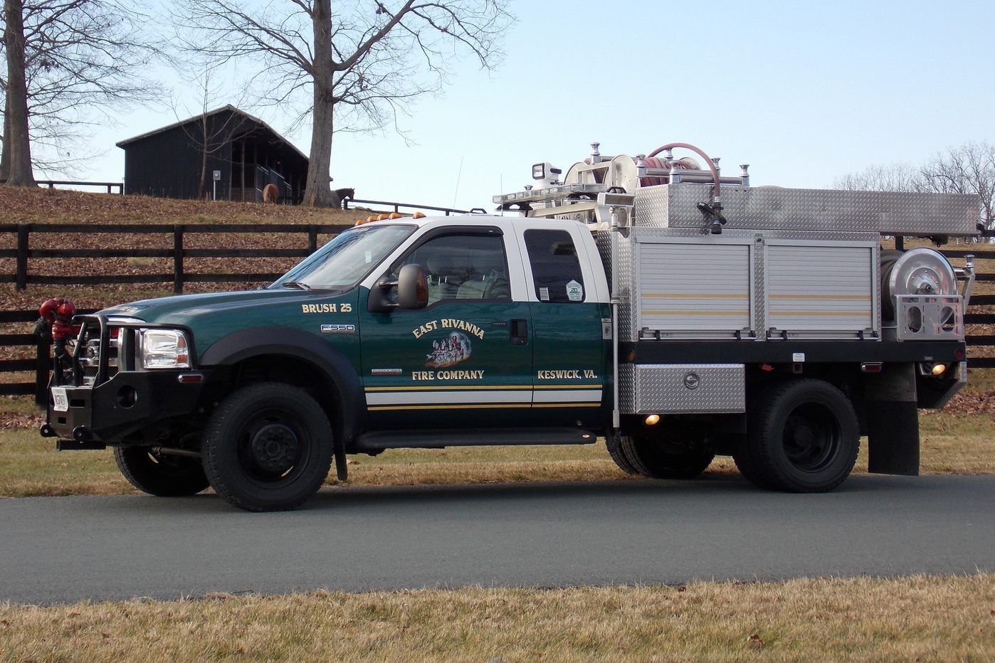 BRUSH 25   • 2007 FORD F-550, BRUSH TRUCK • MAXIMUM CREW: 5 • PUMP: 500 GPM • WATER: 300 GALLON TANK • FOAM: 30 GALLON TANK • BRUSH 25 IS UTILIZED FOR BRUSH AND WILDFIRES AS WELL AS RURAL WATER SUPPLY AND INCLIMATE WEATHER RESPONSE.