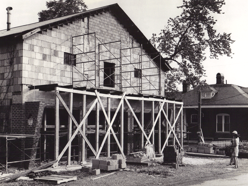 Old firehouse during construction