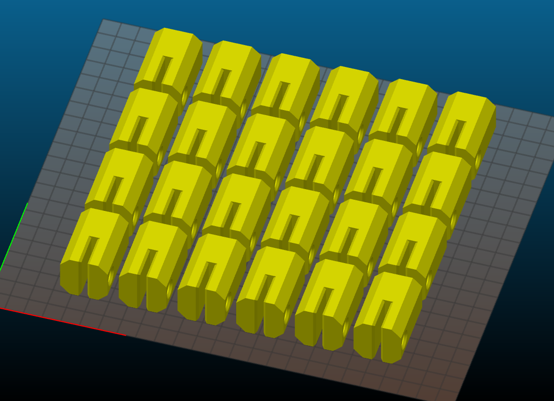QTY: 24 prints on one 3D print bed for the roller mechanism. These pieces slotted over the ends of the conveyor rollers to attach to adjustable mounting arms.