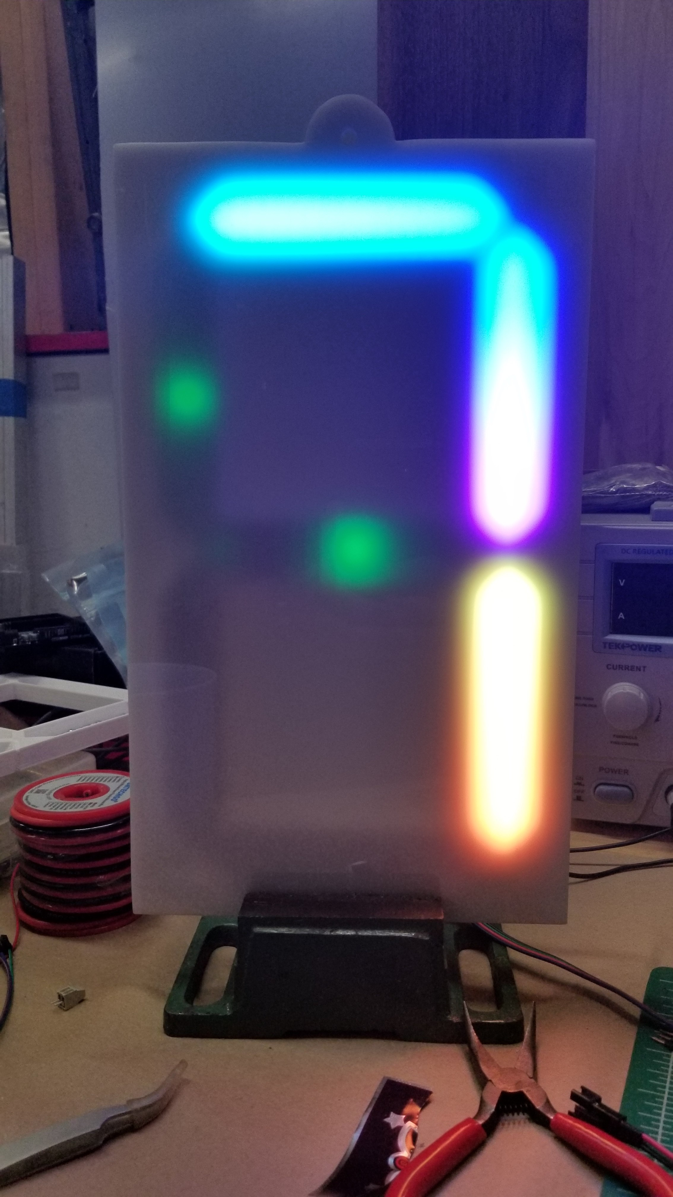 Testing it out on my test fixture. See the green LED's?