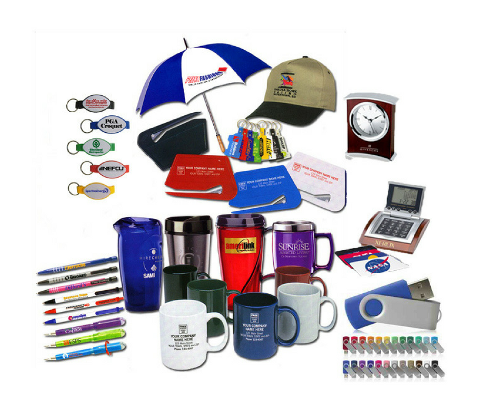 A collection of promotional items that can be custom ordered through Midwest Impressions