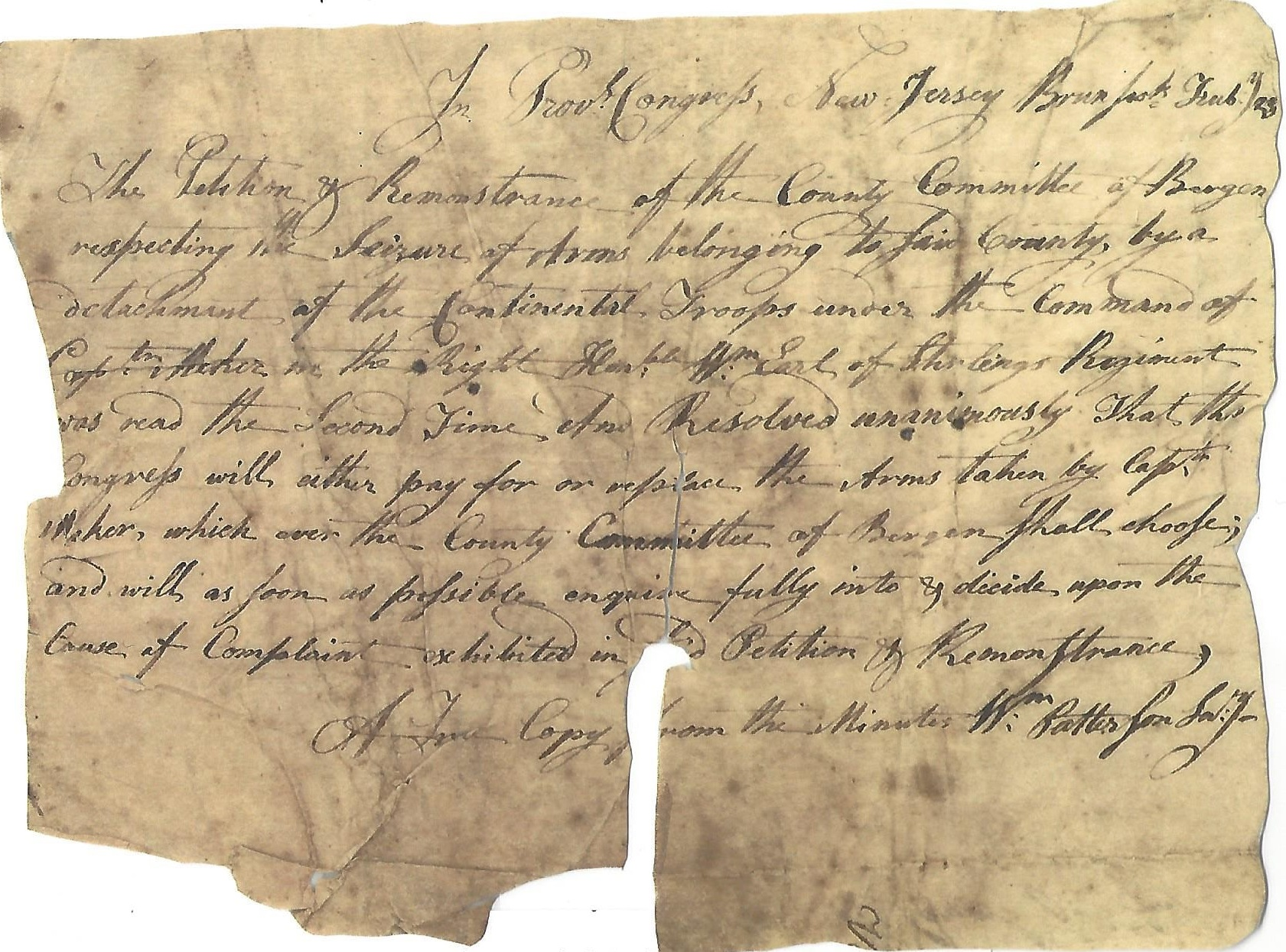 Document written and signed by William Paterson 1776, Secretary of the Provincial Congress - (Vreeland Papers)