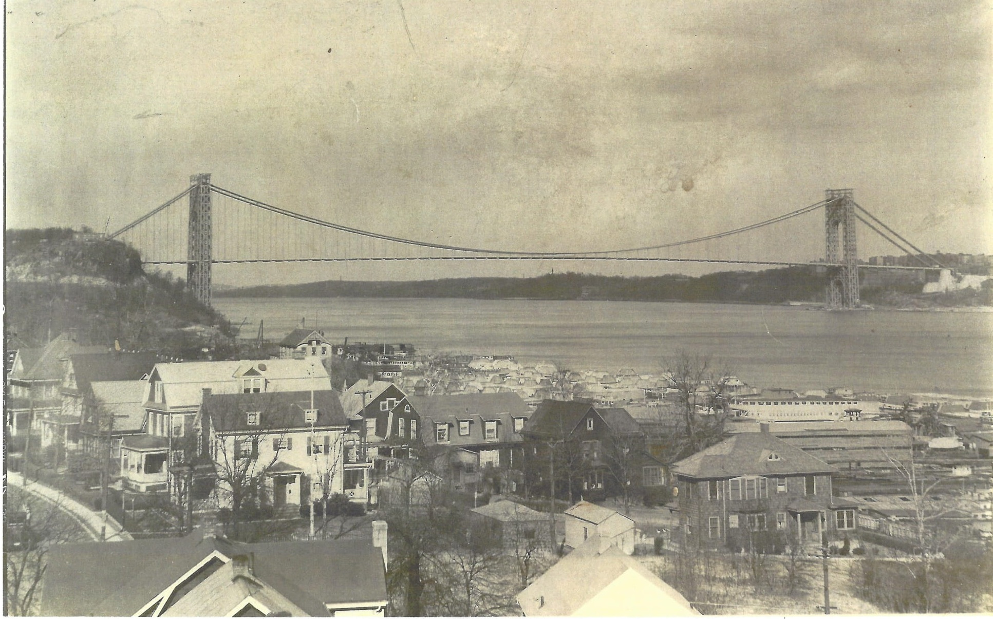 George Washington Bridge March 1931 - By 1931, with the opening of the George Washington Bridge, Leonia underwent another period of population growth.(Harry E. Moore Collection)