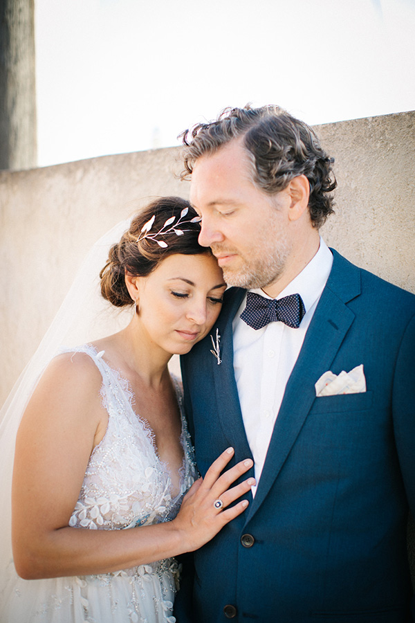A custom made Sterling Silver Olive branch headpiece and boutonniere for Allie and Jason's wedding in Greece. Read all about there wedding here