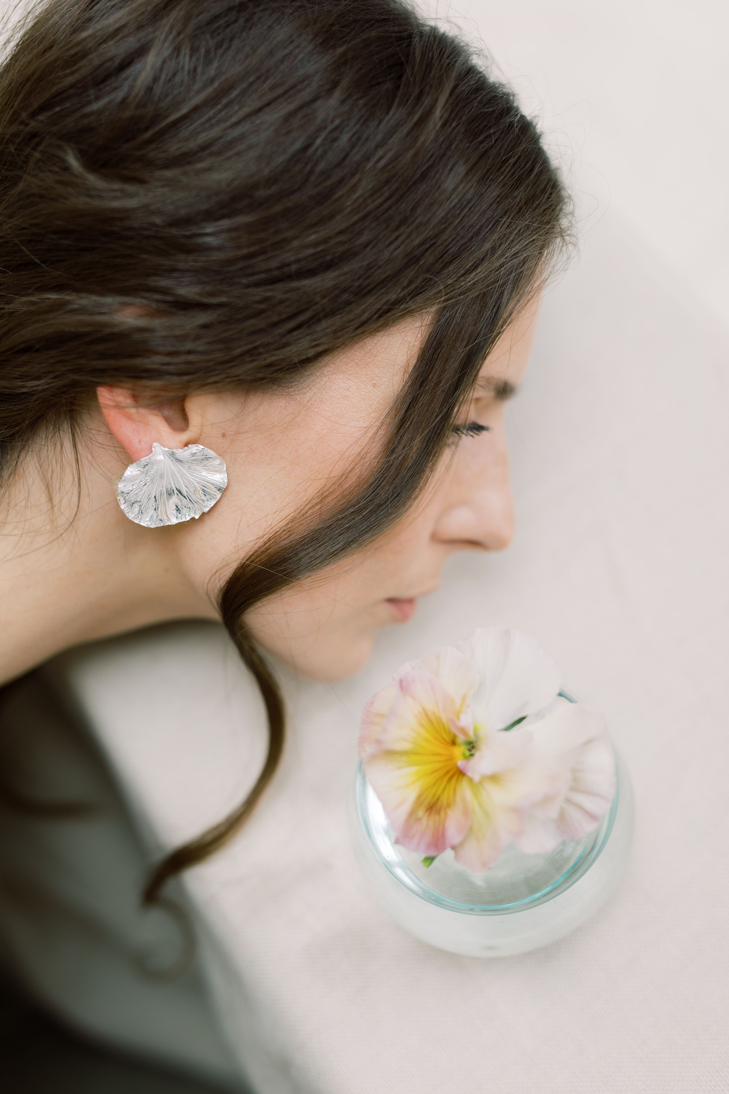 The Galene earring handmade Sterling Silver earrings by Naturae Design.