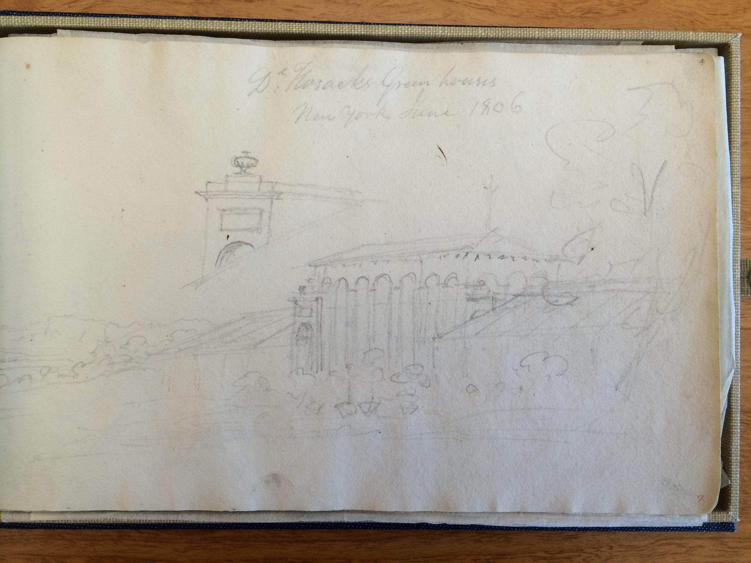 John Trumbull Sketch of Elgin Conservatory (1806)
