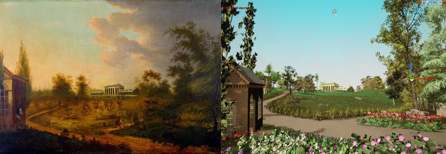 Painting of Elgin Garden (circa 1810) and test Unreal Engine rendering