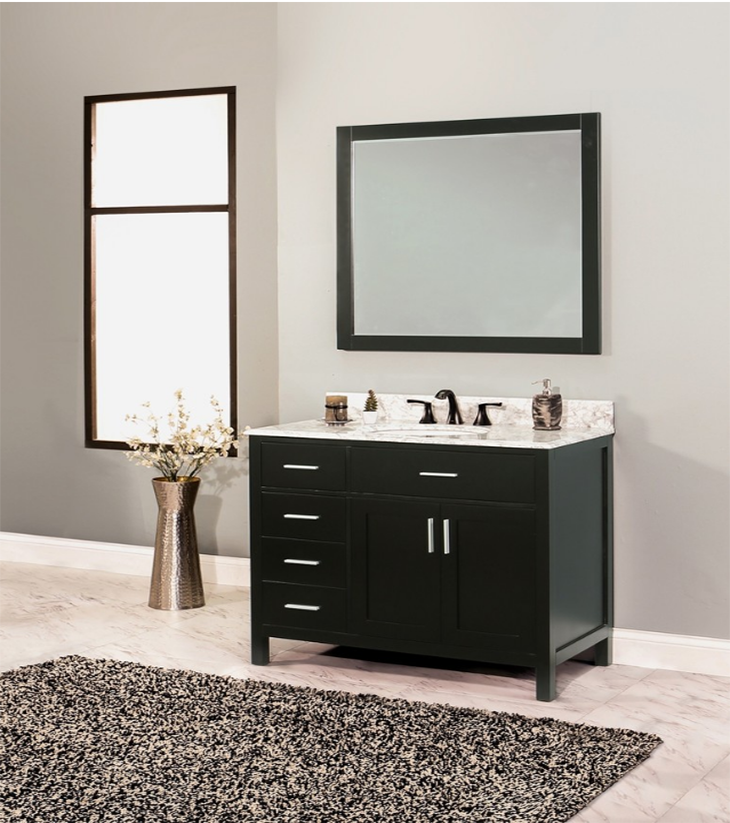 "Arezzo Bathroom Vanity Set, Silky Black 42"" DL    $1250.00"