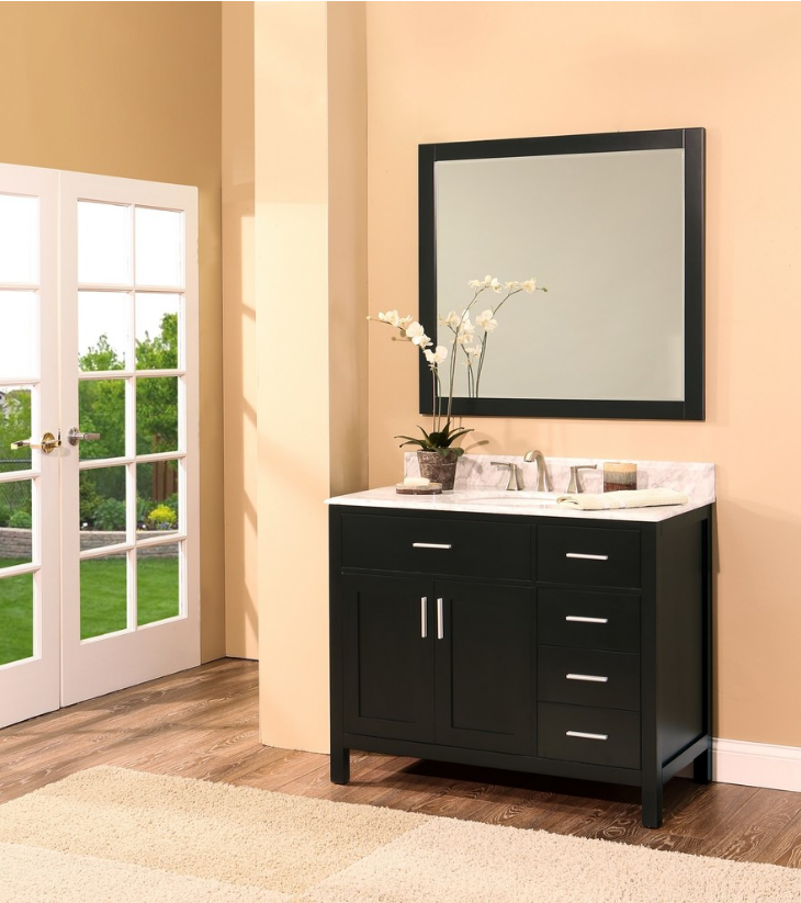 "Arezzo Bathroom Vanity Set, Silky Black 42"" DR    $1250.00"