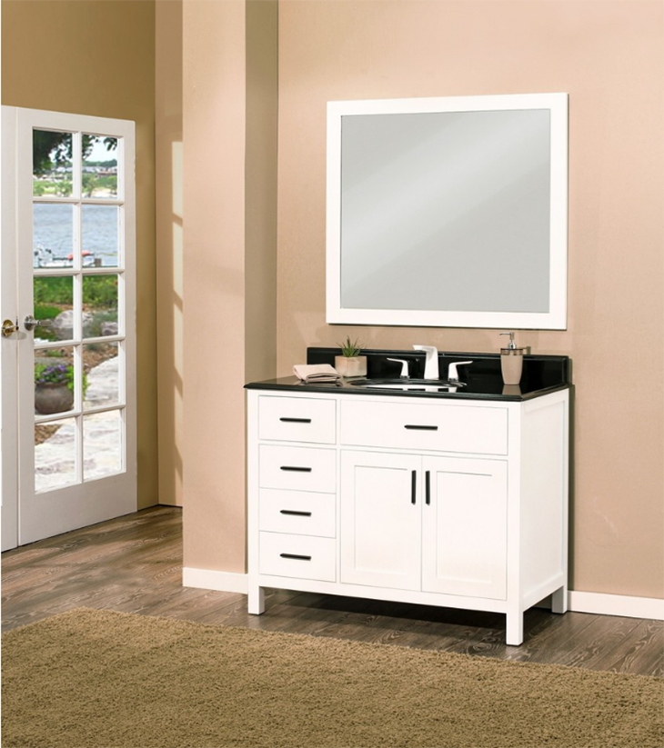 "Arezzo Bathroom Vanity Set, Silky White 42"" DL    $1200.00"