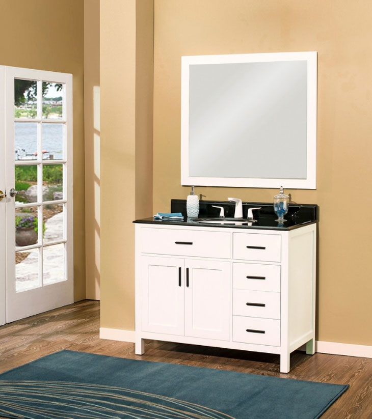 "Arezzo Bathroom Vanity Set, Silky White 42"" DR    $1200.00"