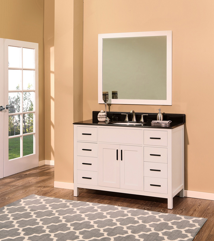 "Arezzo Bathroom Vanity Set, Silky White 48""    $1300.00"