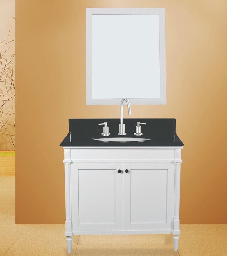 "Barcelona Bathroom Vanity Set, Silky White 30""     $950.00"