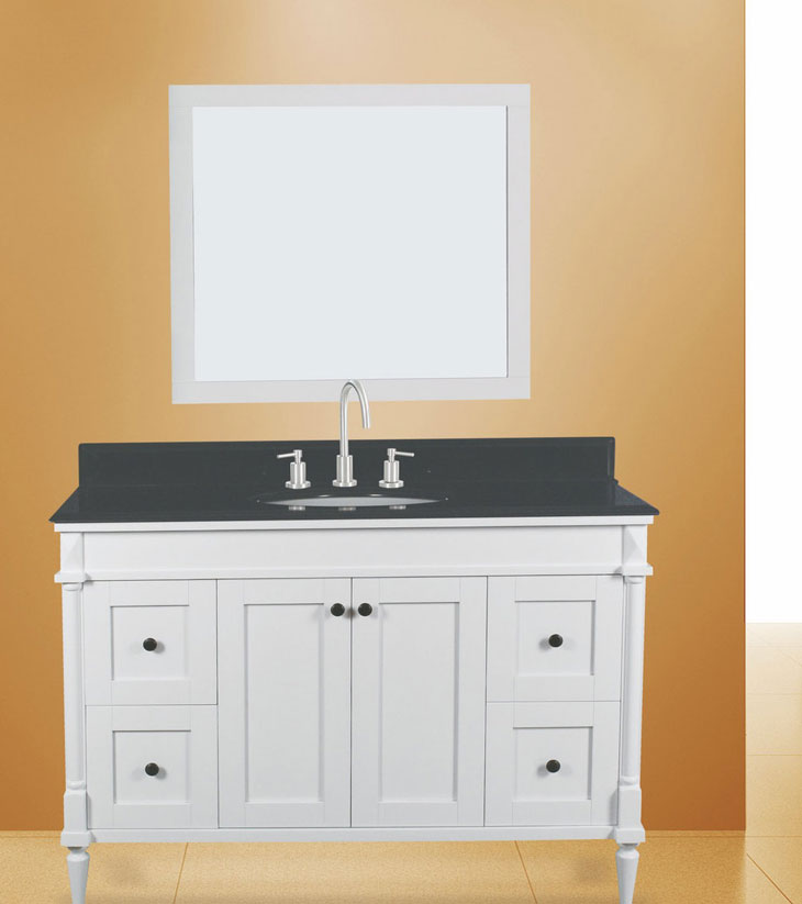 "Barcelona Bathroom Vanity Set, Silky White 48""     $1250.00"