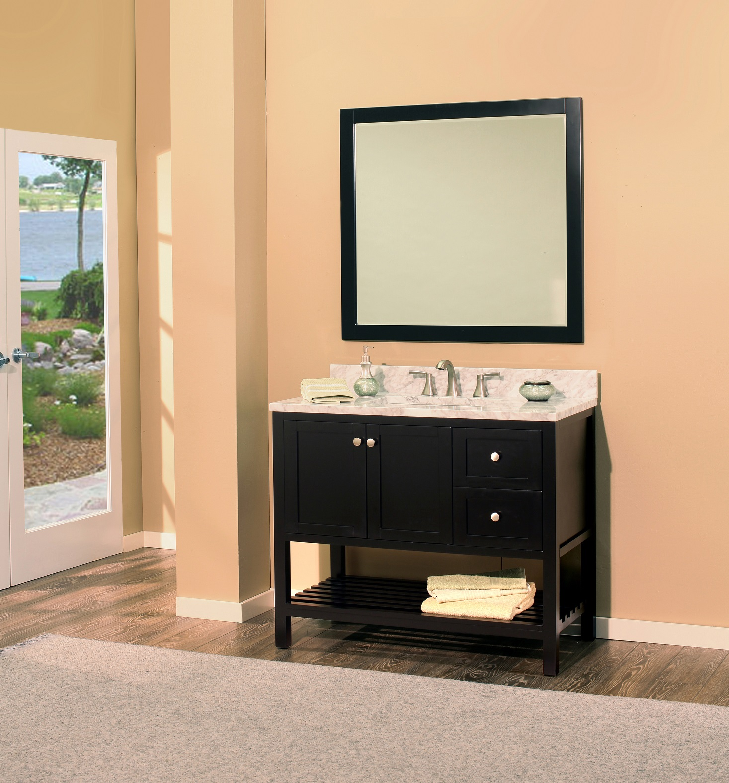 "hampton bay bathroom vanity set absolute black, 42"" dr     $1150.00"
