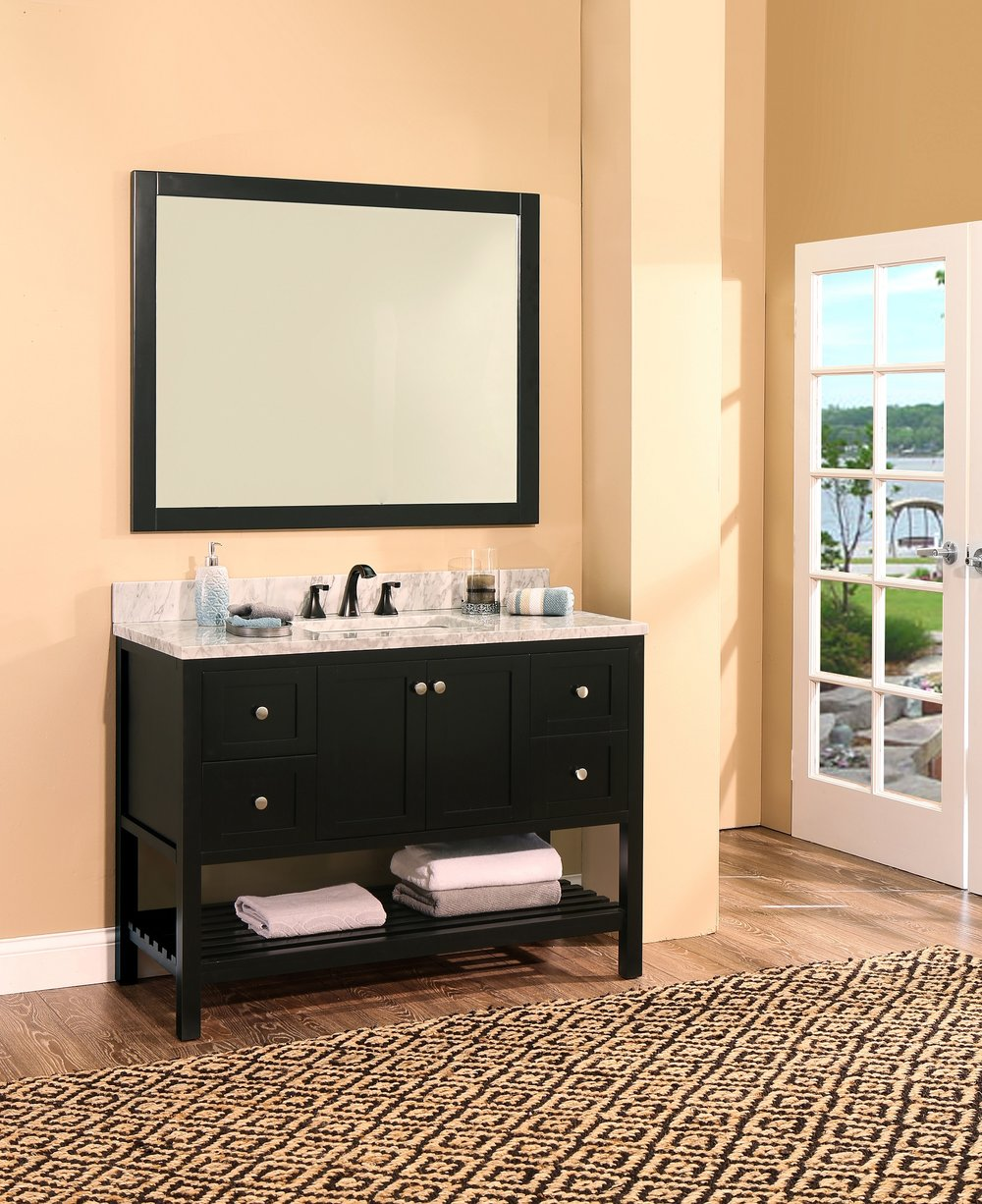 "hampton bay bathroom vanity set absolute black, 48""     $1250.00"