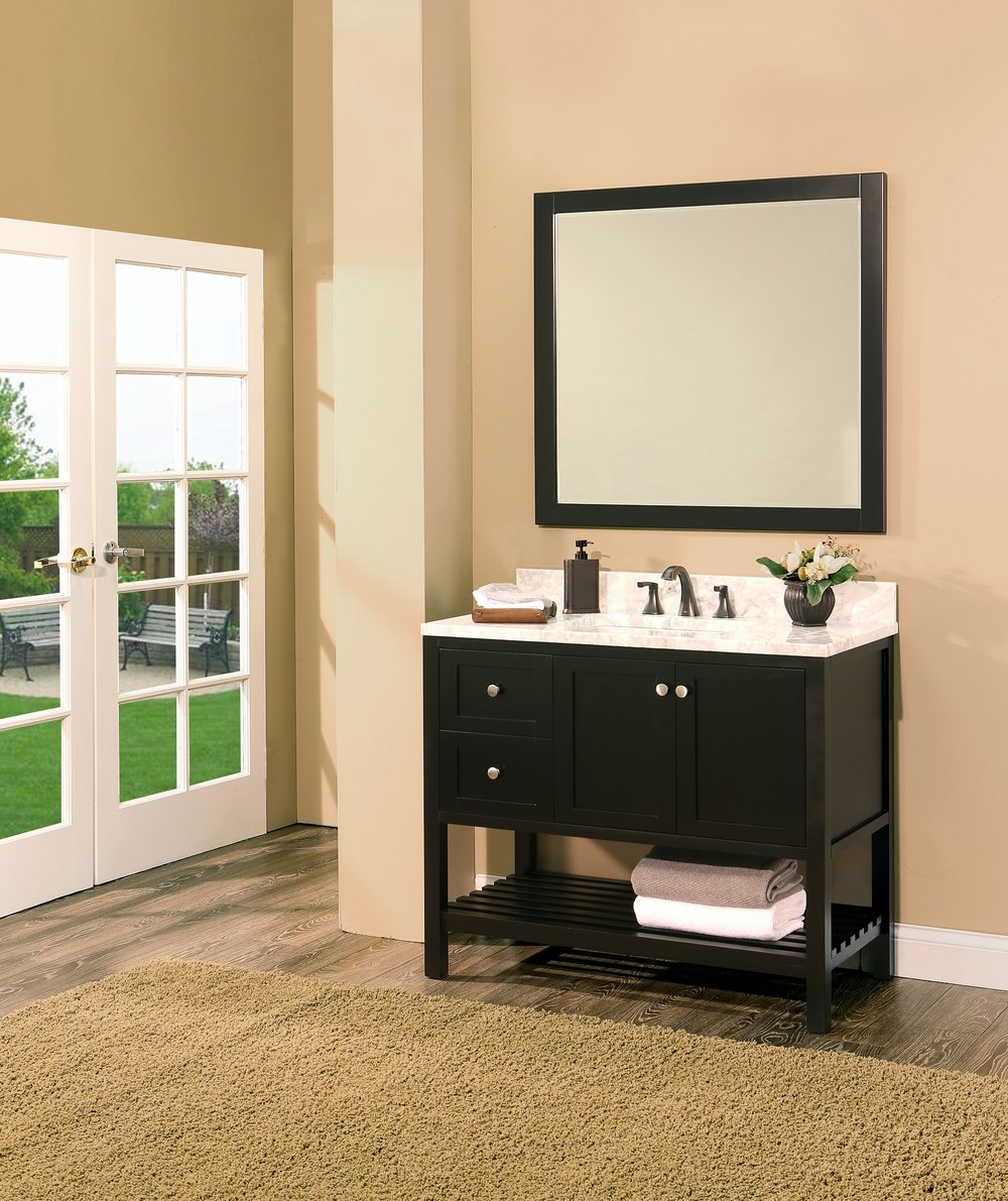 "hampton bay bathroom vanity set absolute black, 42"" dl     $1150.00"