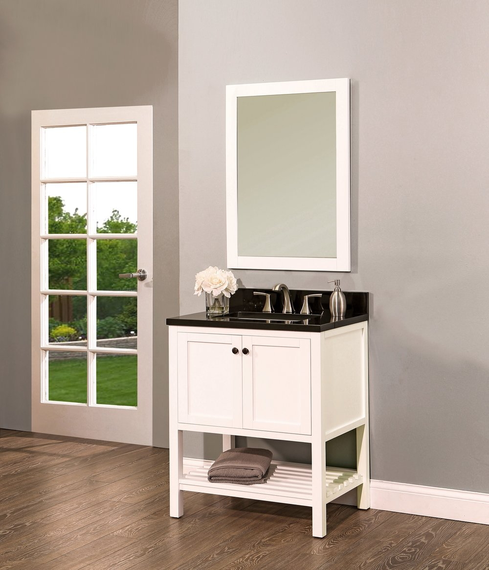 "hampton bay bathroom vanity set silky white, 30""     $900.00"