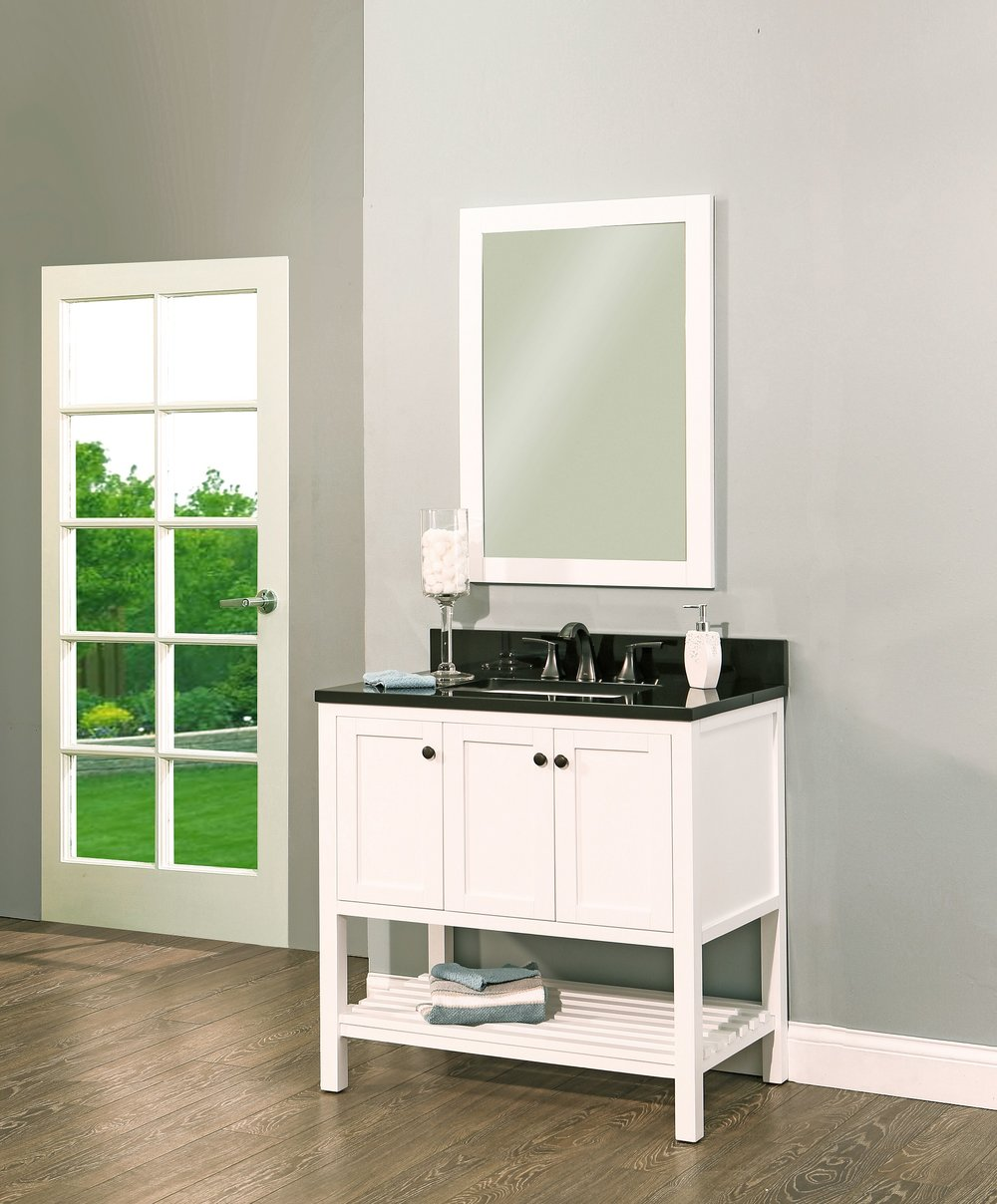 "hampton bay bathroom vanity set silky white, 36""     $999.00"