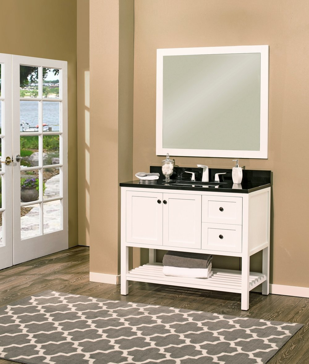 "hampton bay vanity set silky white, 42"" dr     $1100.00"