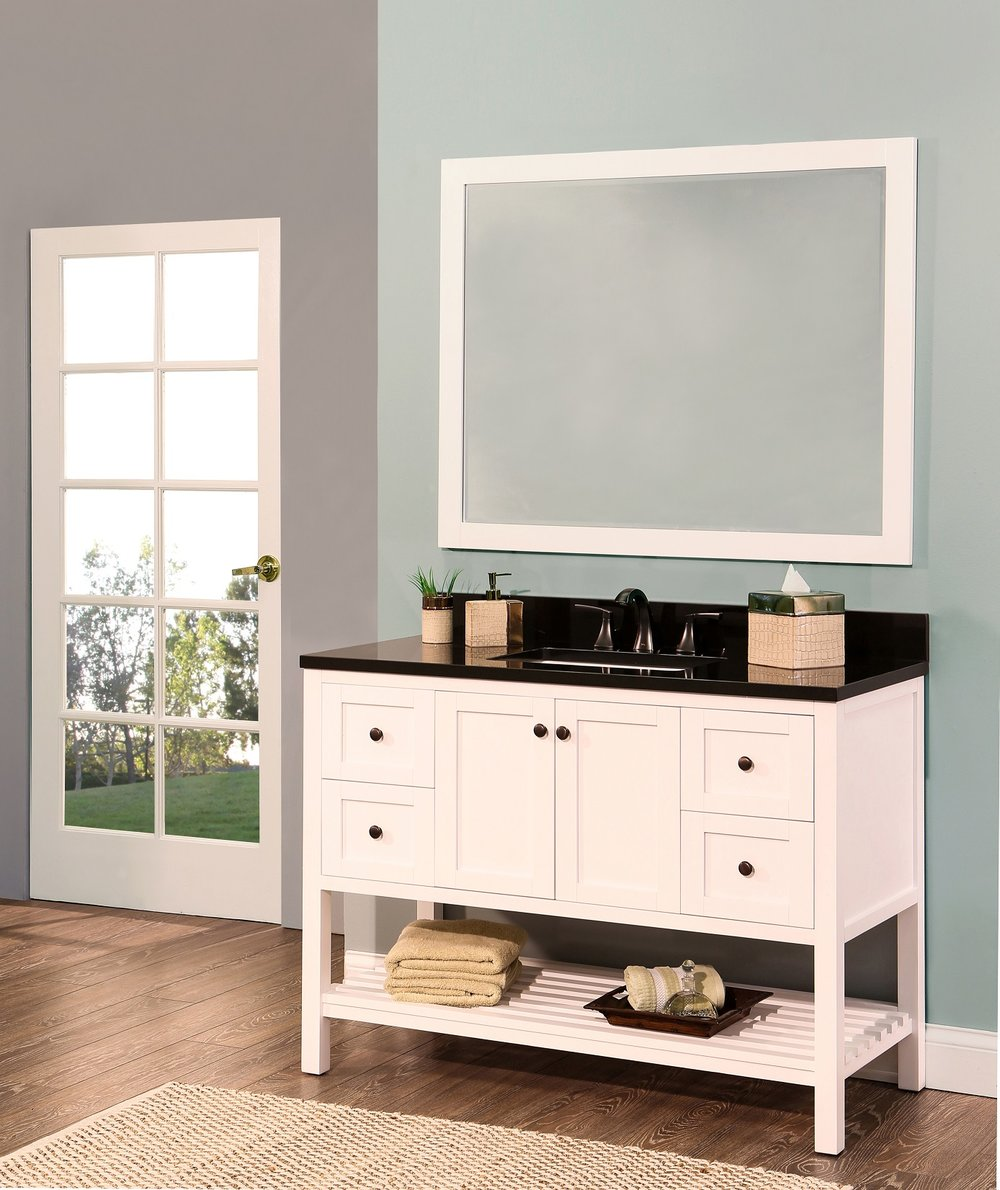 "hampton bay bathroom vanity set silky white, 48""     $1200.00"
