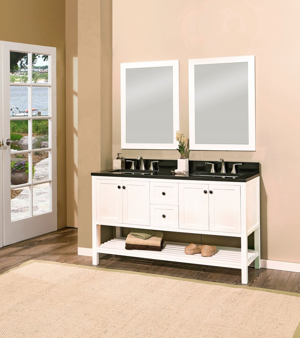 "hampton bay bathroom vanity set silky white, 60""     $1399.00"