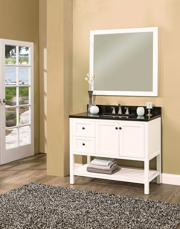 "hampton bay vanity set silky white, 42"" DL    $1100.00"