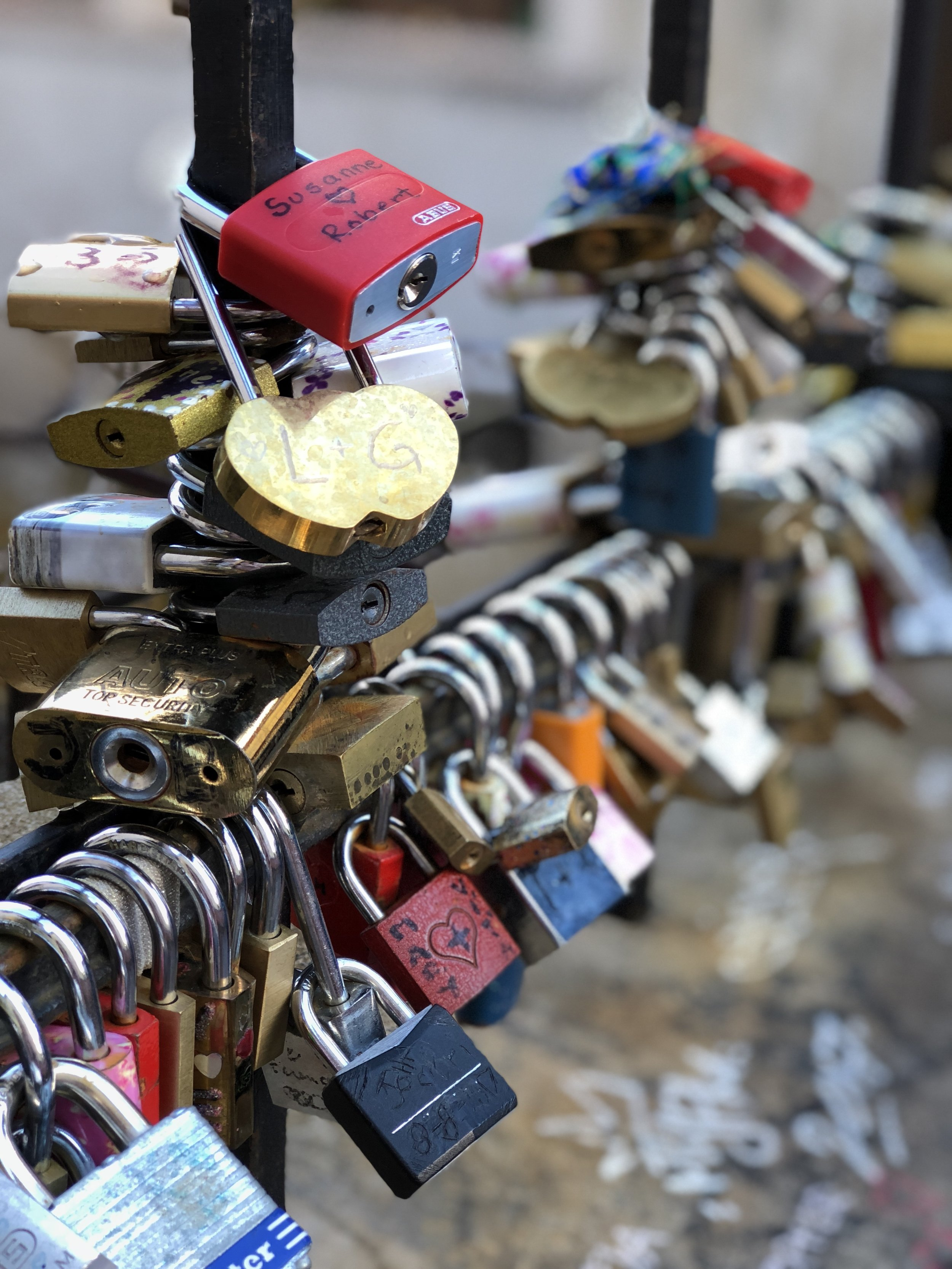 I love finding love locks in European cities. What better way to leave a piece of you behind on a trip.