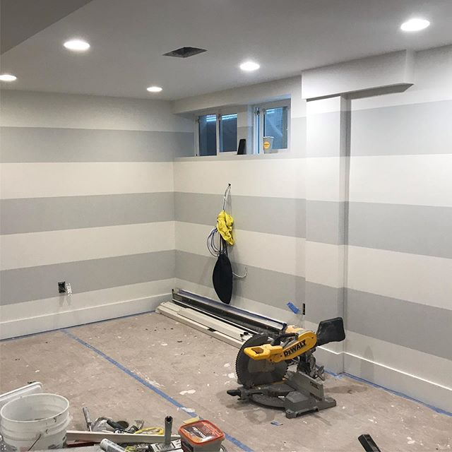 "Painting basement with 12"" stripes giving the room a great look #painting #accentwall #jbuildersny , designed by @elbatdesign and work done by @jbuildersny"
