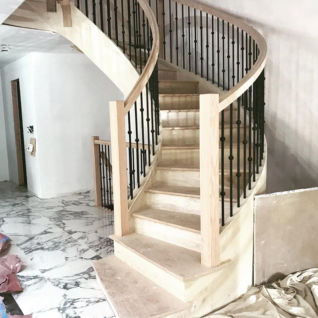 Installing a new oval shape staircase and metal spindles, staining the steps  and painting the spindles will make this come to life. #jbuildersny #brooklynconstruction @ynbqualitystairs @jbuildersny