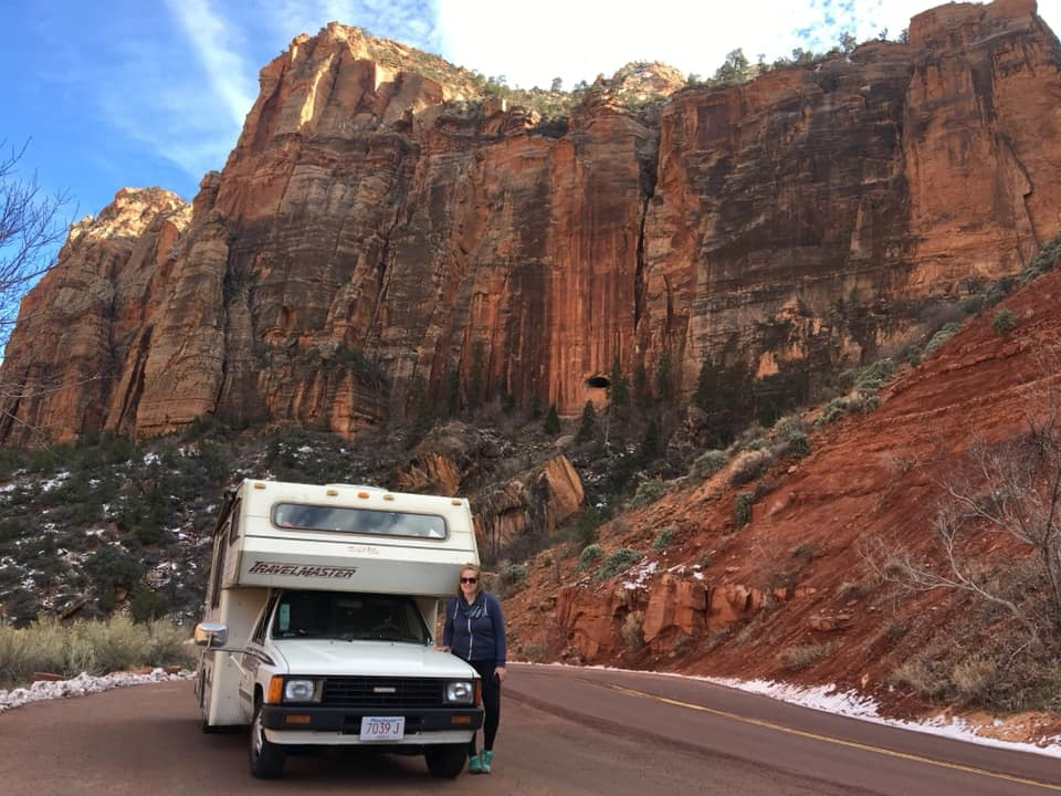 My 1986 camper and I in Zion National Park, Utah. February 2019