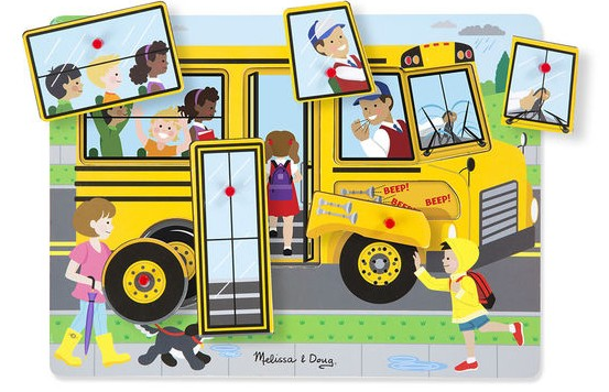 """One of our most popular wooden puzzles from Melissa and Doug, """" The Wheels on the Bus Song Puzzle """""""