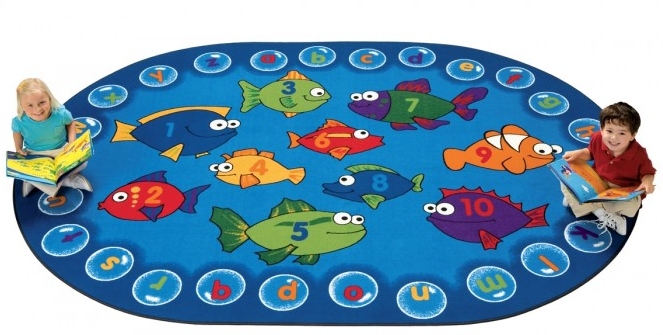 The  Fishing For Literacy  rug includes both letters and numbers, so children can practice counting and sorting using the colourful fish!