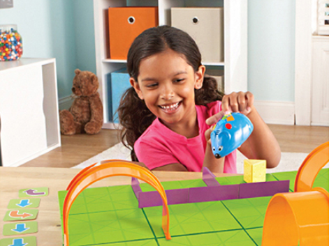 Children will love building a maze then use the coding cards to create a step-by-step path for Colby the Robot Mouse. Program the sequence of steps, and then watch Colby race to find the cheese! Check out Code and Go Robot Mouse  here .