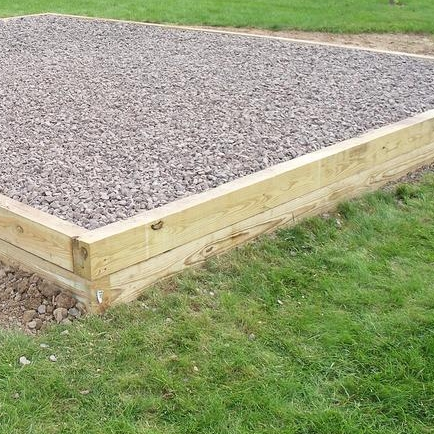 Pressure Treated Timber Border   Still one of the most commonly used border treatments -- pressure treated timber provides a natural look and can be installed in tiers to aid in leveling uneven playground sites.
